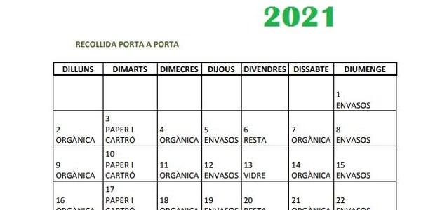 Calendari de la recollida porta a porta d'agost