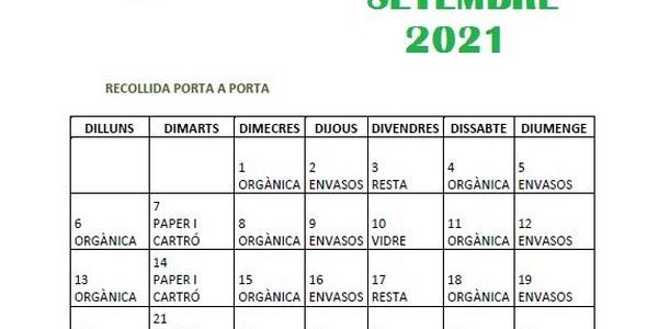 Calendari porta a porta setembre 2021